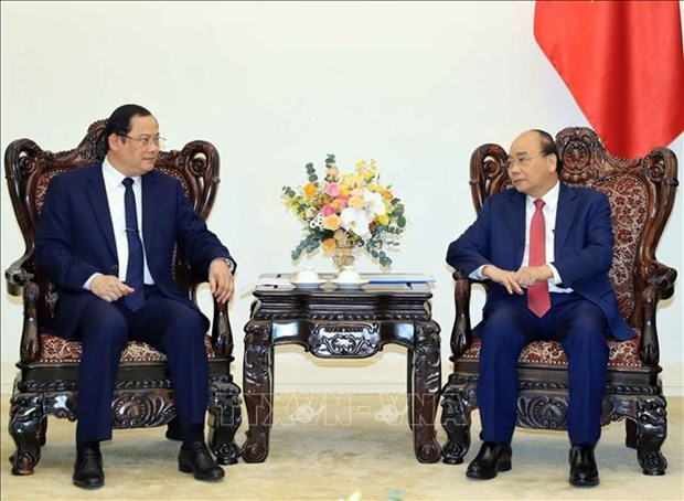 越南政府总理阮春福会见老挝计划投资部副部长宋赛•西潘敦 hinh anh 1