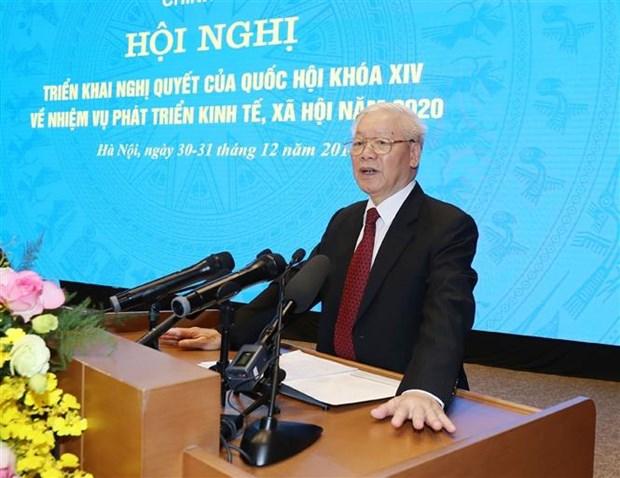 越共中央总书记、国家主席阮富仲出席政府与各地方视频会议并发表重要讲话 hinh anh 1
