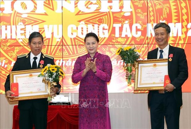 国会主席阮氏金银出席国家审计署举行的2020年工作部署会议 hinh anh 1
