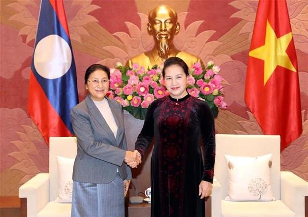 越南国会主席阮氏金银会见老挝国会主席巴尼·亚陶都 hinh anh 1