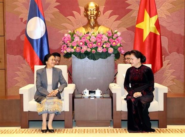 越南国会主席阮氏金银会见老挝国会主席巴尼·亚陶都 hinh anh 2