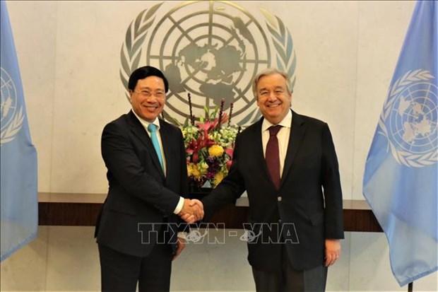 越南与联合国安理会:联合国秘书长与各国官员高度评价越南的国际地位 hinh anh 1
