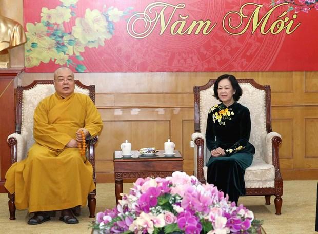 越共中央民运部长张氏梅会见越南佛教协会中央委员会代表团 hinh anh 1