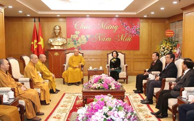 越共中央民运部长张氏梅会见越南佛教协会中央委员会代表团 hinh anh 2