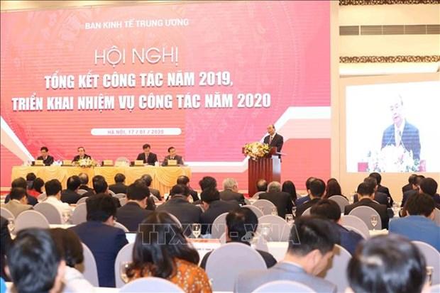 阮春福出席越共中央经济部2019年工作总结暨2020年工作部署会议 hinh anh 1