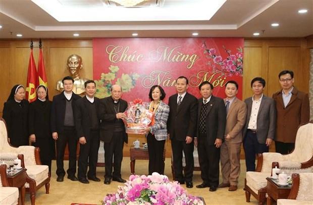 中央民运部部长张氏梅会见兴化教区代表团 hinh anh 2
