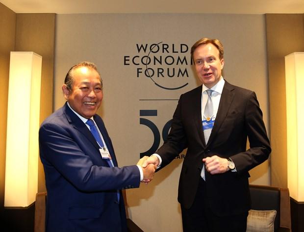 张和平副总理出席世界经济论坛第50届年会的系列活动 hinh anh 1
