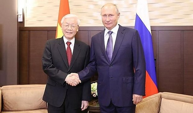 越俄两国领导人就两国建交70周年互致贺电 hinh anh 1