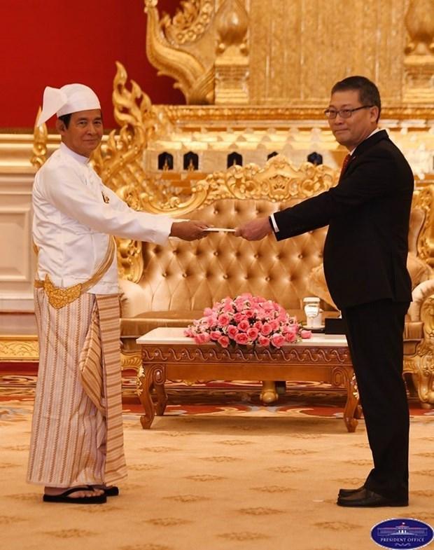 缅甸总统吴温敏高度评价与越南的合作关系 hinh anh 1