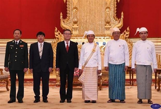 缅甸总统吴温敏高度评价与越南的合作关系 hinh anh 2