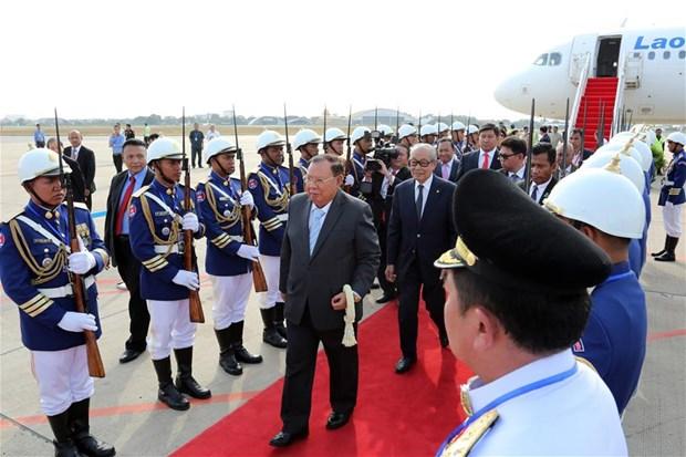 老挝国家主席对柬埔寨进行国事访问 hinh anh 1