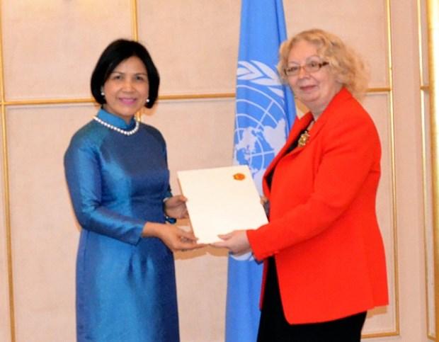 越南常驻日内瓦代表黎氏雪梅大使向联合国日内瓦办事处总干事递交国书 hinh anh 1