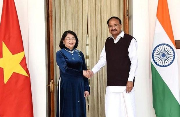 越南国家副主席邓氏玉盛与印度副总统文卡亚·奈杜举行会谈 hinh anh 1