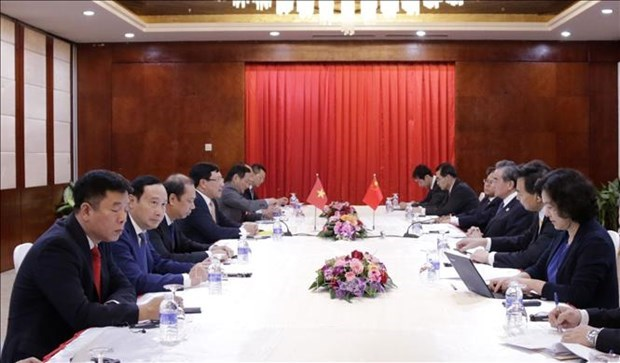 越南政府副总理兼外长范平明在老挝会见中国国务委员兼外长王毅 hinh anh 1