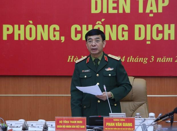 新冠肺炎疫情:越南国防部开展有史以来规模最大的疫情防控演练活动 hinh anh 2