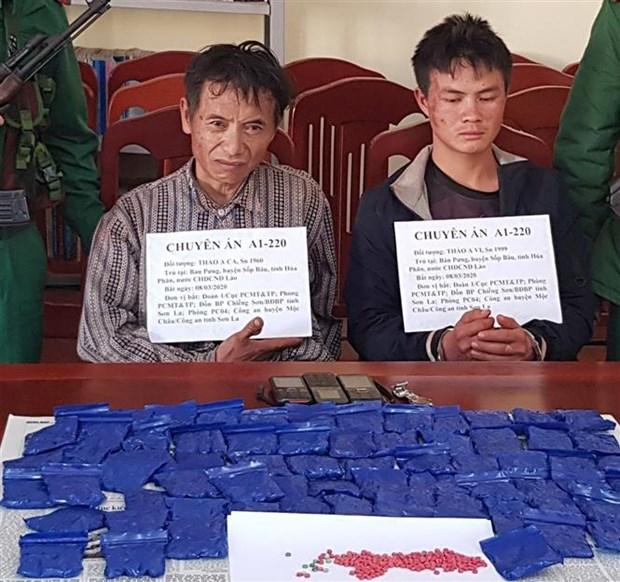 山萝省抓获非法运输毒品的两名老挝籍犯罪嫌疑人 hinh anh 1