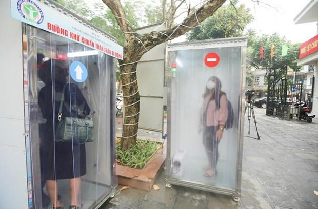新冠肺炎疫情:越南成功研制人员消毒通道 有效防止疫情传播 hinh anh 1