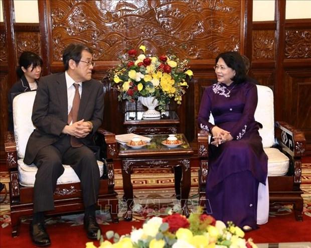 越南国会主席阮氏金银会见日本驻越大使梅田邦夫 hinh anh 2