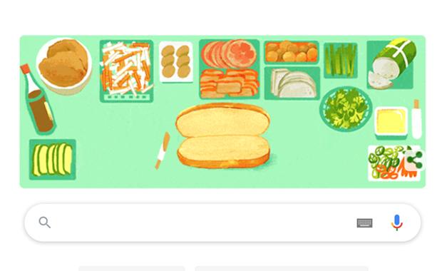 谷歌在主屏搜索工具栏上显示越南面包特色涂鸦 hinh anh 1