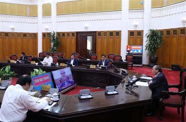 政府总理阮春福与朔庄省主要领导举行视频会议 hinh anh 1
