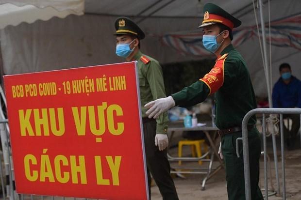 新冠肺炎疫情:河内市迷灵县夏雷村全村隔离工作紧张有序开展 hinh anh 1