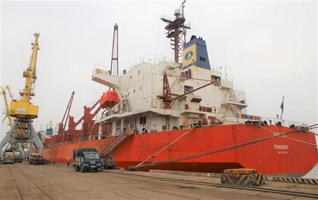海防港迎接3艘大型货船进港 hinh anh 1