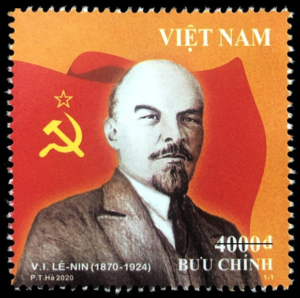 """越南信息与传媒部发行""""列宁诞辰150周年(1870-1924)"""" 纪念邮票 hinh anh 1"""