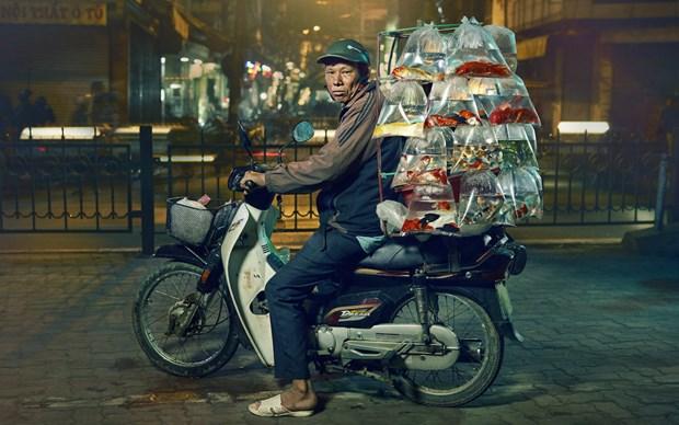 英国摄影师拍摄的越南街上卖观赏鱼的小贩在美国获奖 hinh anh 1