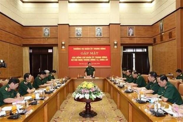 越共第十二届中央委员会第12次全体会议军队代表举行见面会 hinh anh 1