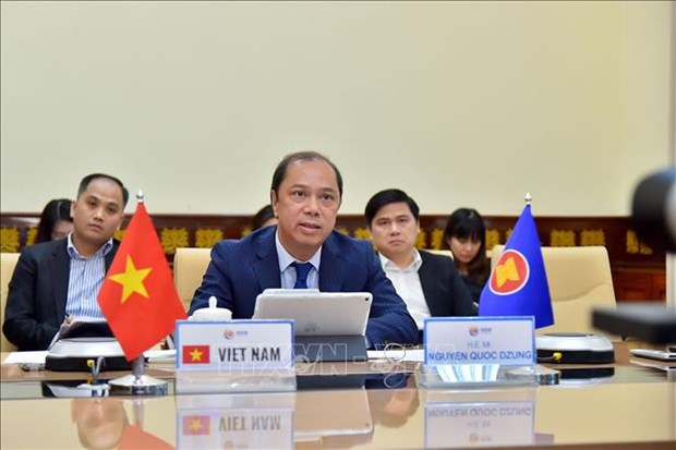 2020东盟轮值主席年:东盟高级官员视频会议在河内召开 hinh anh 1