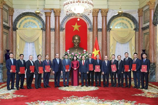 国家副主席邓氏玉盛向12位驻外大使颁发任命书 hinh anh 1
