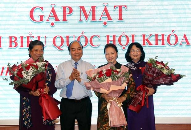 越南政府总理亲切会见国会妇女代表 hinh anh 1