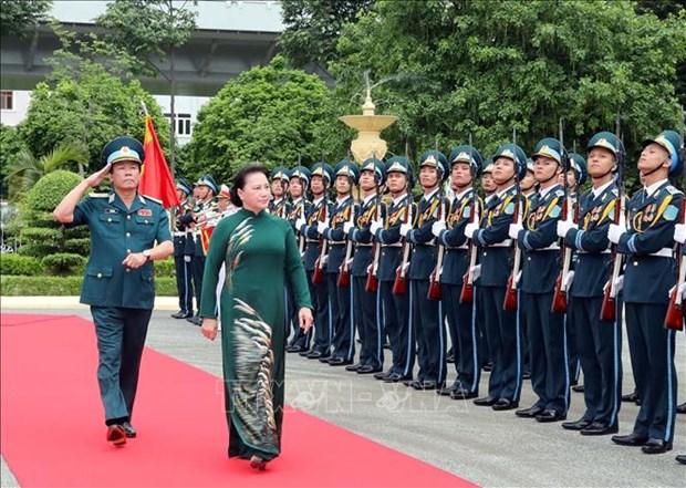 国会主席阮氏金银视察防空空军军种 hinh anh 1