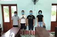 从越南广宁省乘小木筏非法出境 4人被拘留 hinh anh 1