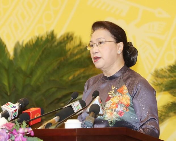 国会主席阮氏金银出席河内市第十五届人民议会第十五次会议 hinh anh 1