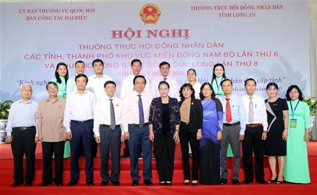 越南国会主席阮氏金银出席东南部和九龙江三角洲地区人民议会常务会议 hinh anh 2