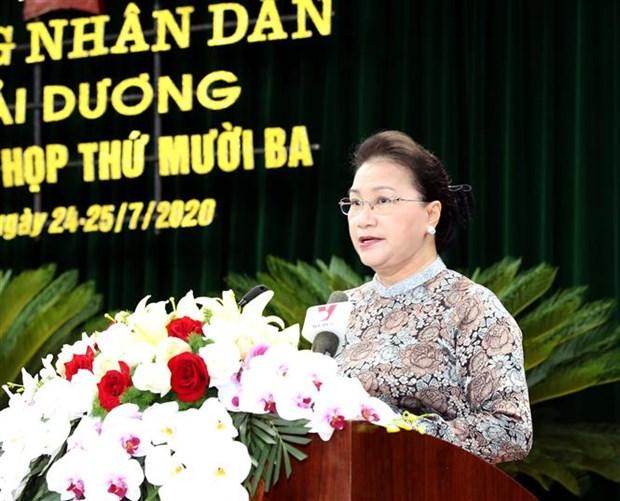 国会主席阮氏金银出席海阳省第16届人民议会第13次会议 hinh anh 2