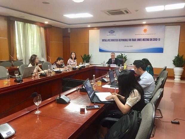 越南工贸部副部长陈国庆出席APEC贸易部长抗击新冠肺炎疫情视频会议 hinh anh 1