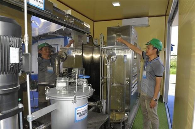 河内市全国首个家庭和手工艺村污水废水智能处理系统投入运行 hinh anh 2