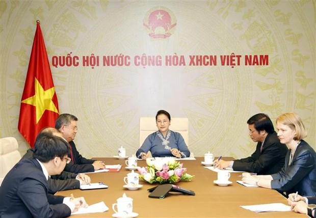 越南国会主席阮氏金银与新西兰议会议长通电话 hinh anh 1