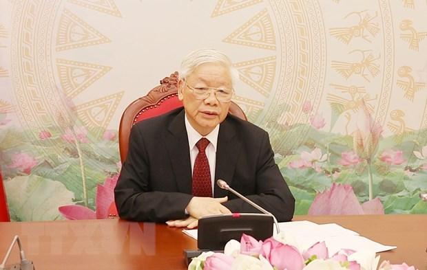 越共中央总书记、国家主席阮富仲与老挝人民革命党中央总书记、国家主席本扬·沃拉吉举行电话会谈 hinh anh 1