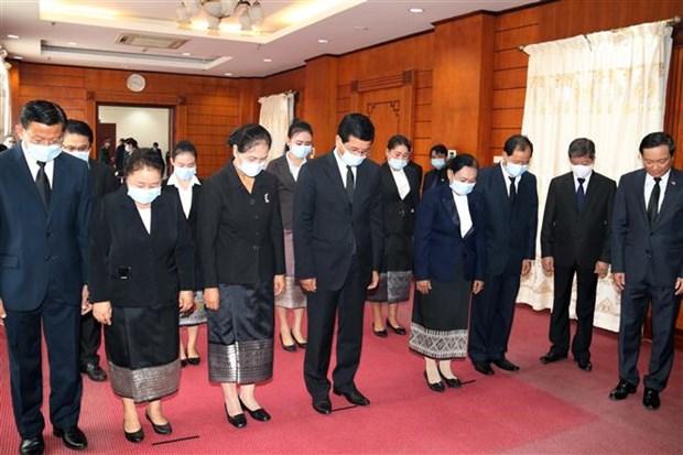 越南驻老挝、新加坡、印尼和柬埔寨大使馆为原越共中央总书记黎可漂举行吊唁仪式 hinh anh 1