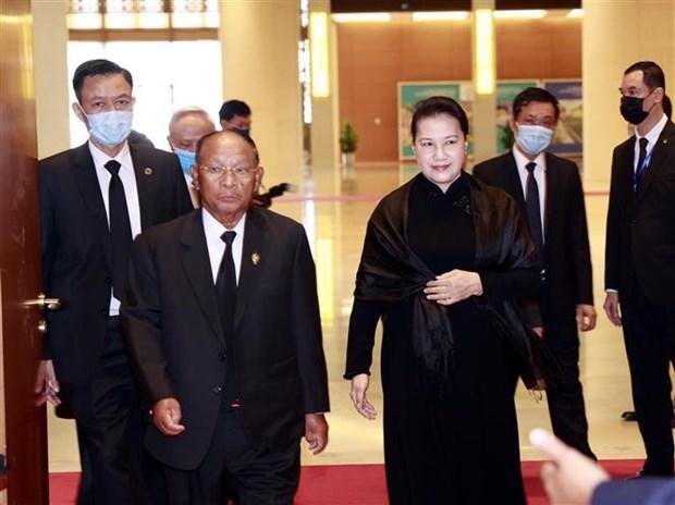 国会主席阮氏金银会见柬埔寨国会主席韩桑林 hinh anh 1