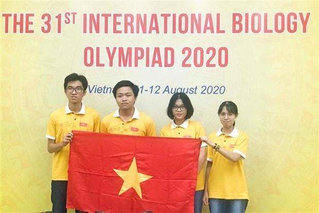 参加2020年国际生物学奥林匹克竞赛的越南全部学生都获奖 hinh anh 1