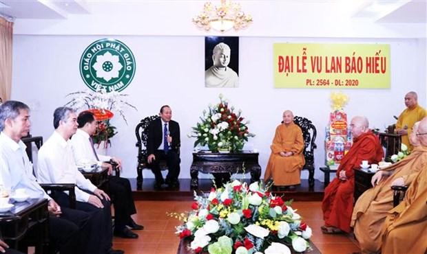 张和平副总理向越南佛教教会领导和佛教信徒致以盂兰盆节祝福 hinh anh 2