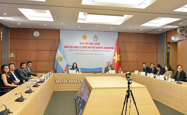 越南国会代表与阿根廷议会议员就妇女权益举行在线座谈会 hinh anh 1