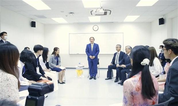 日本首相菅义伟会见越日大学的大学生 hinh anh 1