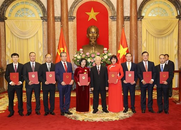 越共中央总书记、国家主席阮富仲向驻外大使颁发任命书 hinh anh 1