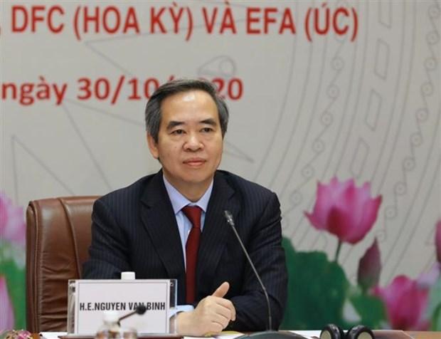 越共中央经济部部长阮文平与日本、美国和澳大利亚三大金融组织举行线上会谈 hinh anh 2
