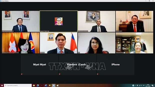 ASEAN 2020: 越南驻瑞士大使馆主持召开伯尔尼东盟委员会视频会议 hinh anh 1